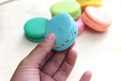 French macaroons multi colorful is delicious.  Stock Photos