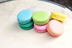 French macaroons multi colorful is delicious.  Royalty Free Stock Photography
