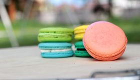 French macaroons multi colorful is delicious.  Royalty Free Stock Photos