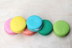 French macaroons multi colorful is delicious Royalty Free Stock Images
