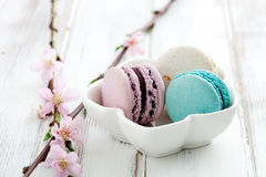 French macaroons. In pink, turquoise and white royalty free stock photography