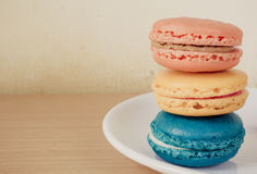 French macaroons on plate Royalty Free Stock Images