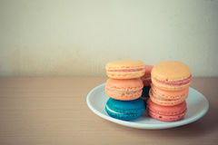 French macaroons on plate Royalty Free Stock Photo
