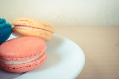 French macaroons on plate Stock Photography