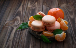 French macaroons with tangerine Stock Images