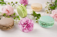French macaroons. Turquoise, chocolate and green colors. Stock Photos