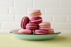 French macaroons on vintage plate. Food close-up Stock Image