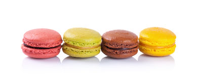 French macaroons on a white background royalty free stock photos