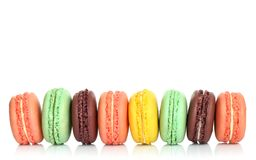 French macaroons on white background Stock Images