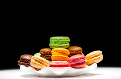 French macaroons. On white plate. Dessert Royalty Free Stock Photos