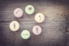 French macaroons on   wooden background Royalty Free Stock Image