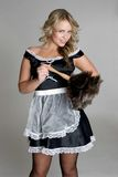 French Maid. Sexy blond french maid costume Royalty Free Stock Images