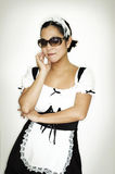 French Maid. In dark sunglasses Royalty Free Stock Image