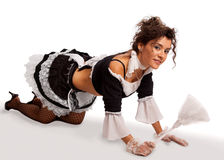 French maid crouching Stock Photos