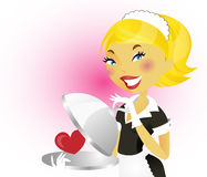 French maid series. Woman in french maid uniform Stock Images