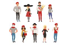 French male and female characters, people dressed in traditional Parisian style vector Illustrations stock illustration