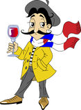 French man. Mustachioed Frenchman in the yellow jacket and a scarf with a glass of red wine Royalty Free Stock Images