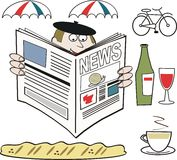 French man reading newspaper cartoon. Cartoon of French man reading newspaper with parasols, bicycle wine and coffee Royalty Free Stock Images