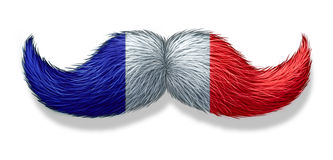 French Man Symbol. French mustache symbol with the flag of France as an icon of a European macho male culture and concept for parisian restaurant and cuisine on Royalty Free Stock Photos
