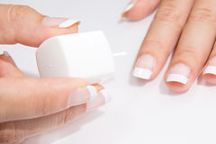 French manicure royalty free stock photography