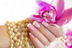 French manicure. French manicure to a woman's hand with an Orchid and beads royalty free stock image
