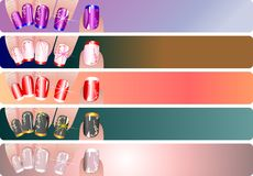 French manicure banners set Royalty Free Stock Photography