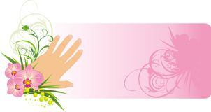 French manicure and beautiful orchids. Card Stock Photography