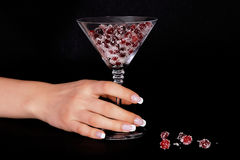 French manicure and cranberries Royalty Free Stock Photo