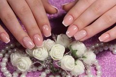 French manicure nail design stock photos