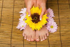 French manicure and pedicure Stock Photos