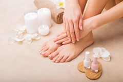 French manicure and pedicure Stock Photography