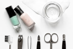 French manicure - preparing tools on white backround top view Stock Photos