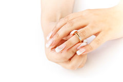French manicure and ring Stock Photos