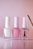French manicure set of nail polish isolated on white. Stock Image