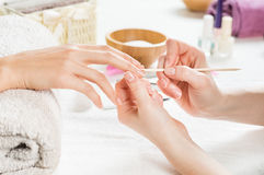 French manicure at spa center stock images