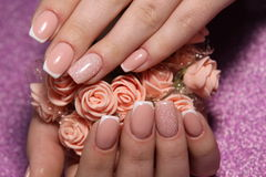 French manicure wedding design stock photos