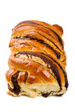 French marble brioche with  chocolate over white. Stock Photo