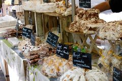 French market stall. French market nougat stall Uzes royalty free stock image