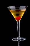 French martini - Most popular cocktails series. French martini in chilled glass over black background on reflection surface, garnished with maraschino cherry royalty free stock image