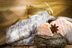 French meat with cheeses on wood. En table royalty free stock photos