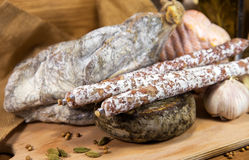 French meat with cheeses on wood. En table royalty free stock image
