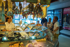 French meat market. People buying meat in french market, Tour, France Royalty Free Stock Photography