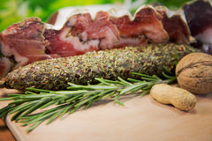 French meat sliced. With peanuts stock images