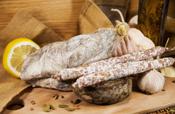French meat. On wooden table stock photo
