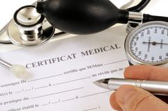 French medical certificate royalty free illustration