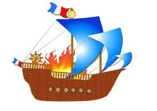 French medieval ship in fire. On white background vector illustration
