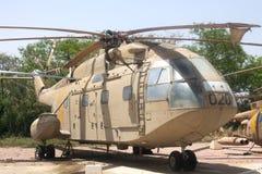French medium transport helicopter SA 321K Super Frelon. HATZERIM, ISRAEL - APRIL 26, 2016:  French medium transport helicopter SA 321K Super Frelon display in Stock Image