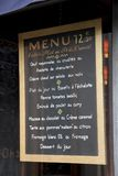 French Menu. Hanging in Restaurant in Paris, France Royalty Free Stock Photo