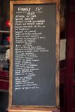 French Menu. Board in Paris, France Royalty Free Stock Images