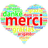 French: Merci, Heart shaped word cloud Thanks, on white Stock Photography